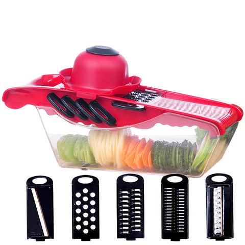 5 in 1 Manual Vegetable Cutter Slicer Garlic Presses Graters Finger Protector Fruit Tools Kitchen Accessory