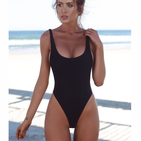 Womens One Piece Swimsuit Solid Female Sexy Black Backless Brazilian Fused Monokini