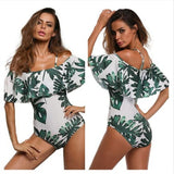 Womens Sexy Off Shoulder Swimwear Retro Print One Piece Swimsuit Bathing Suit Ruffle Monokini