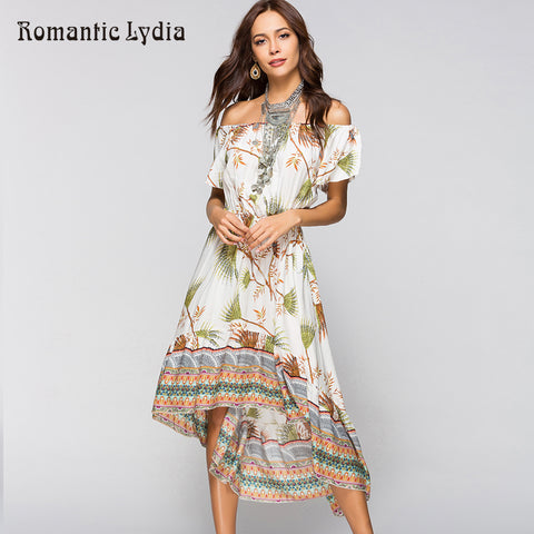 Womens Boho Chic Sundress Floral Wrap Summer Bohemian Beach Tunic Loose Off Shoulder Dress