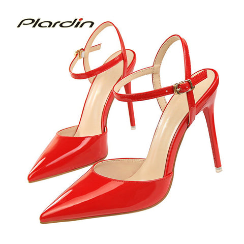 Womens Fashion Ankle Strap Pointed Toe Thin High Slingback Pumps Heels
