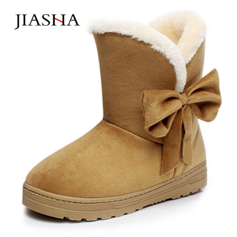 Womens New Style Bow Ribbon Solid Color Warm Winter Casual Boots