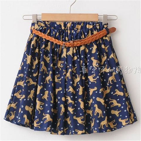 Womens Summer Hot Mini Floral Printed Chiffon Casual Sexy Pleated Skirt