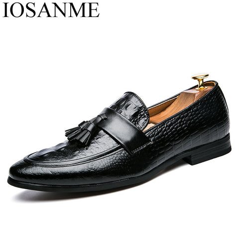 Mens Tassel Leather Italian Snakeskin Office Slip On Dress Shoes