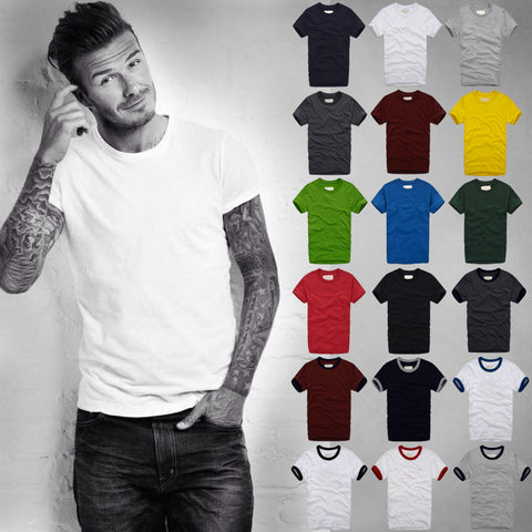 Mens T Shirt Short-Sleeved 100% Cotton Shirt Solid Color Casual Top Tee