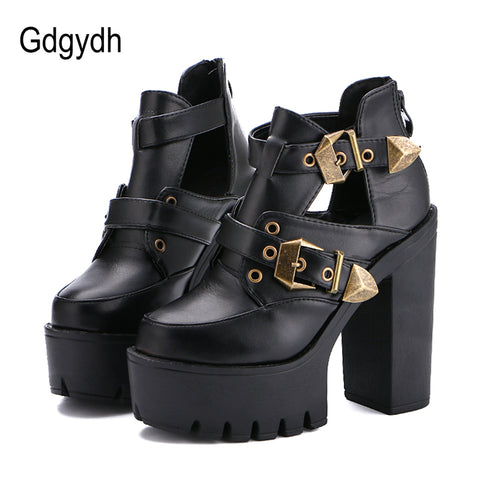 Womens Pumps Round Toe Platform Thick High Heels