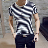 Mens Summer Fashion O-Neck Short-Sleeved Slim Fit Striped T-Shirt