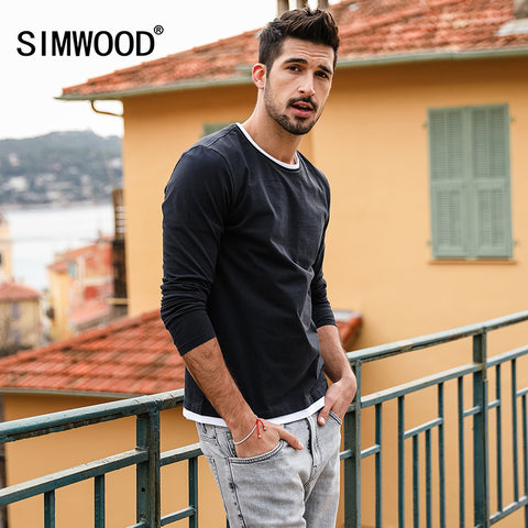 Mens New Fake Double Layered T-Shirt Long Sleeve 100% Cotton Fashion High Quality Slim Fit Tee