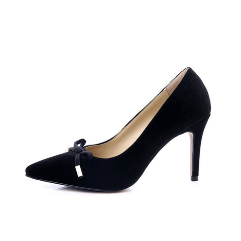 Womens High Heel Bow Velvet Pointed Toe Basic Thin Heels Stiletto Shoes Sheepskin Insole