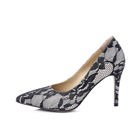 Womens Sexy Thin Spike Heel Pumps Lace Pointed Toe Stiletto Party Valentine Shoes