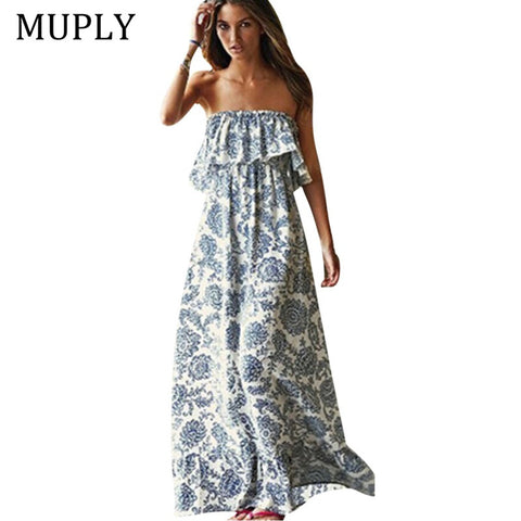Womens Floral Print Halter Long Off The Shoulder Bohemian Dress