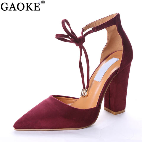 Womens Pointed Strappy Pumps Sexy Retro High Thick Heels