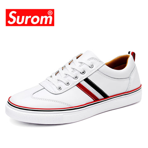 Mens Fashion Leather Casual White Autumn Shoe Sneakers