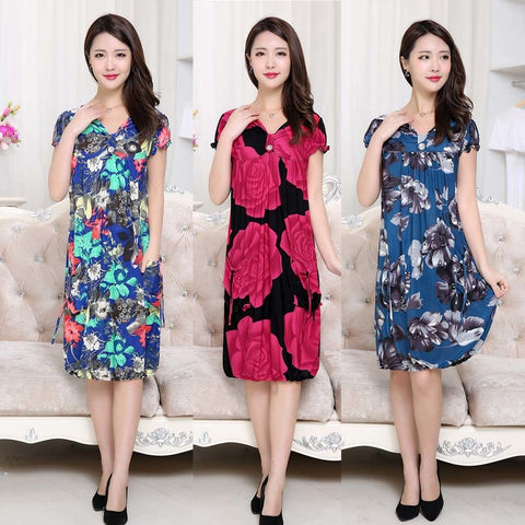Womens Summer Large Size Sleeved Floral Retro Dress