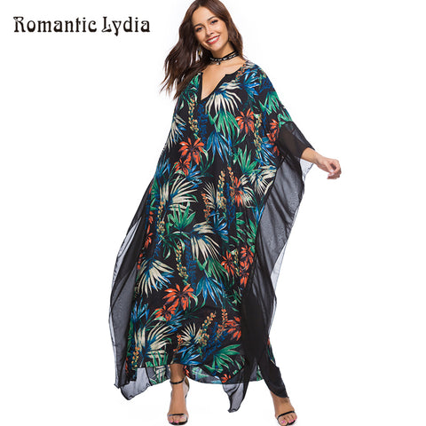 Womens Summer Boho Chic Floral Bohemian Long Chiffon Loose Kaftan Beach Maxi Dress