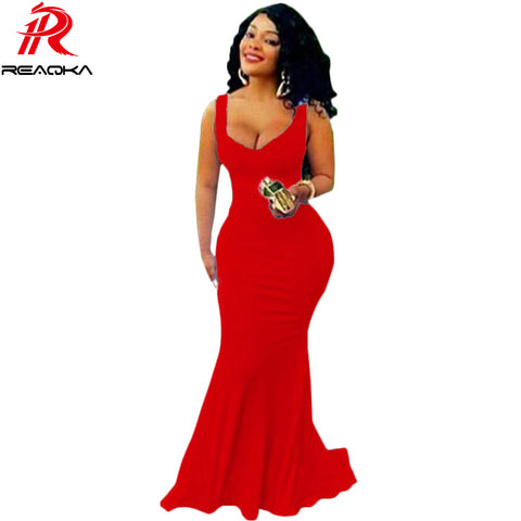 Womens Mermaid Royal Prom Long V Neck Floor Length Red Gown Dress