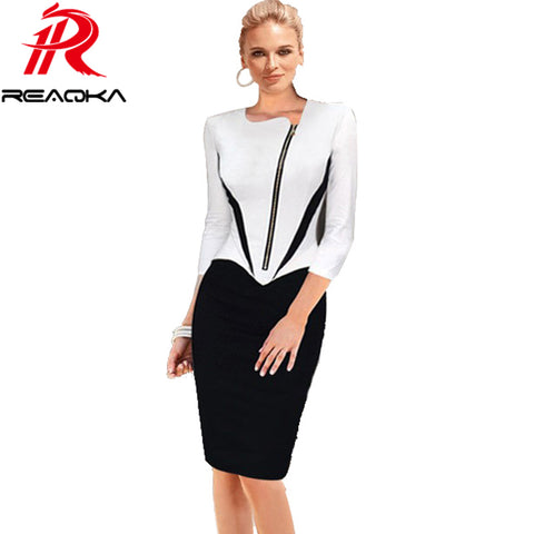Womens Work Career Casual Fashion Sheath Elegant Business Bodycon Pencil Dress