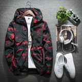 Mens Casual Camouflage Hoodie Waterproof Windbreaker Jacket