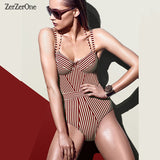 Womens Swimsuit Striped One Piece Push Up Swimwear Bodysuit Bathing Suit One Piece Monokini