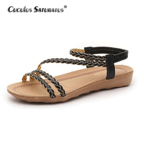 Womens Boho Style Beach Casual Ankle Strap Sandals