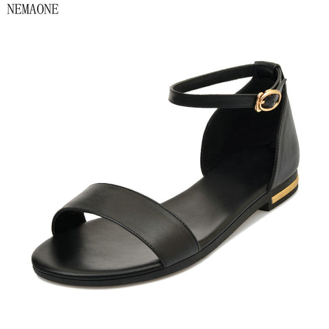 Womens 100% Cowhide Summer Fashion Leather Ankle Strap Sandals