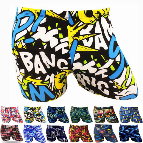 Mens Elastic Printed Pattern Swim Pool Sport Swimming Bathing Suit Swimwear Boxer Shorts Beach Trunks