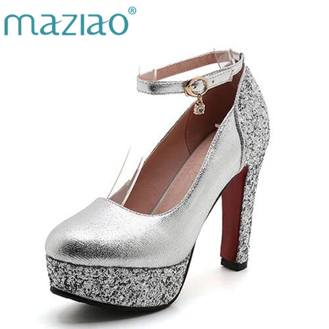 Womens Thick Gold Silver Bridal Wedding Party Dress Shoe Heels