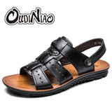 Mens Split Leather Designer Summer Slipper Beach Breathable Buckle Gladiator Sandals