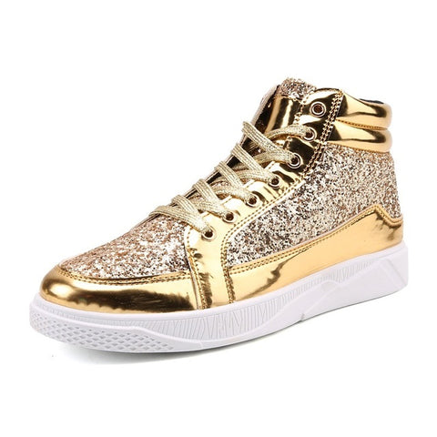Mens Sequins Casual High Top Bright Leather Shoes