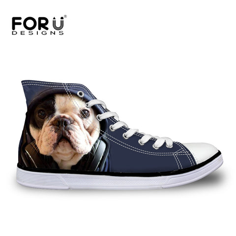 5e6e3a3ce759eb Womens Fashion Casual 3D Animal French Bulldog Frenchie Printed Lace-up  High Top Canvas Shoes