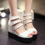 Womens Edgy Strapped Wedge Platforms