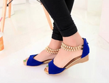 Womens Classy Open Toe Ankle Strap Wedges