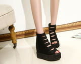 Womens Edgy Stylish Rip Open Toe Platforms