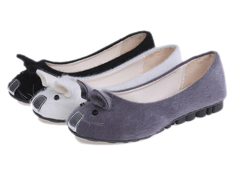 Womens Cute Fuzzy Mouse Flats