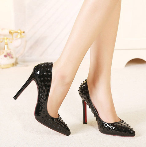 Womens Trendy Rivet Sexy Stiletto Heels