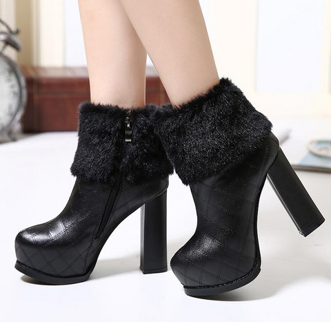 Womens Posh Fur Bootie High Heels