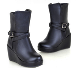 Womens Hot Strap High-Top Wedge Boots