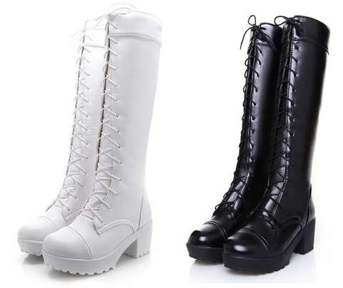 Womens Edgy Knee High Lace Up Boots