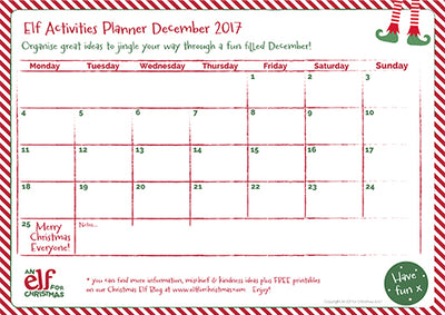 Our 2017 Elf Antics Planner - free to download and print