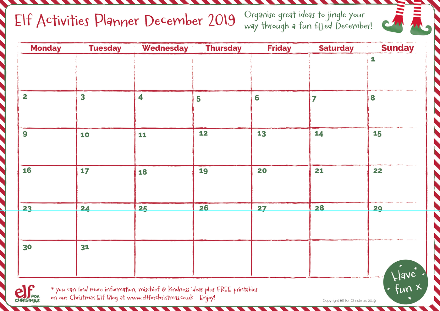 2019 Elf Antics Planner Printable