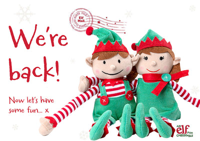 Elf arrival ideas: We're back! Welcome your Elf back from the North Pole with free printable signs