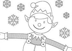 Christmas Elf Colouring Sheet