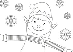 christmas elf girl colouring sheet