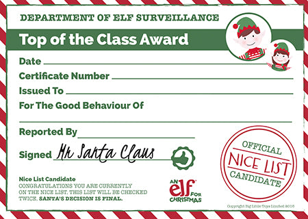 Christmas reward chart printable certificate elf for christmas printable certificate yelopaper Images
