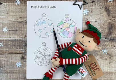 Elf Christmas colouring pages