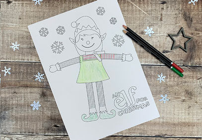 Girl Elf Colouring Pages