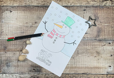 Elf Christmas Colouring Pages Snowman