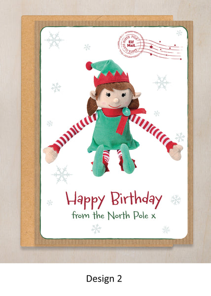 HAPPY BIRTHDAY ELF – PERSONALISED CHRISTMAS BIRTHDAY CARD FROM GIRL ELF