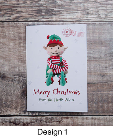 MERRY CHRISTMAS ELF PERSONALISED CARD FROM BOY
