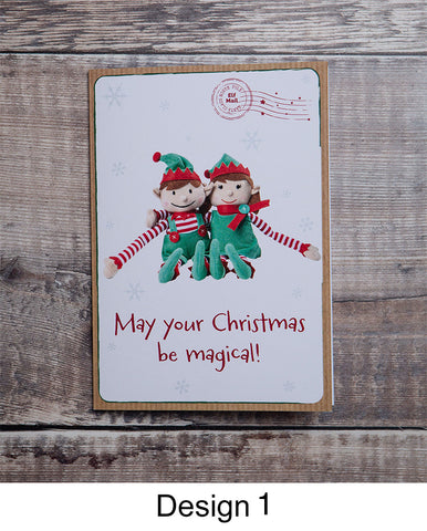 MERRY CHRISTMAS ELF – PERSONALISED CHRISTMAS CARD FROM BOY AND GIRL ELF